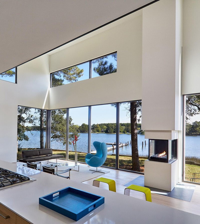 beautiful view of water front form the dining and kitchen area
