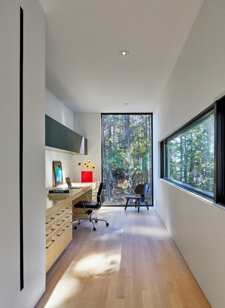 forest green view from the study area of contemporary home