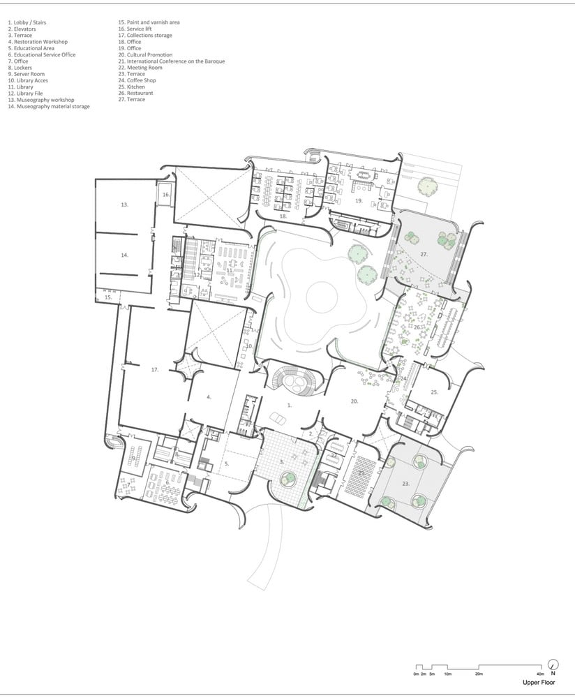 Upper_Floor plan of Intl. Baroque Art Museum Architecture by Toyo Ito in Mexico