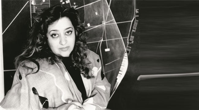 Zaha-Hadid-in-one-of-her-own-creations-in-1989