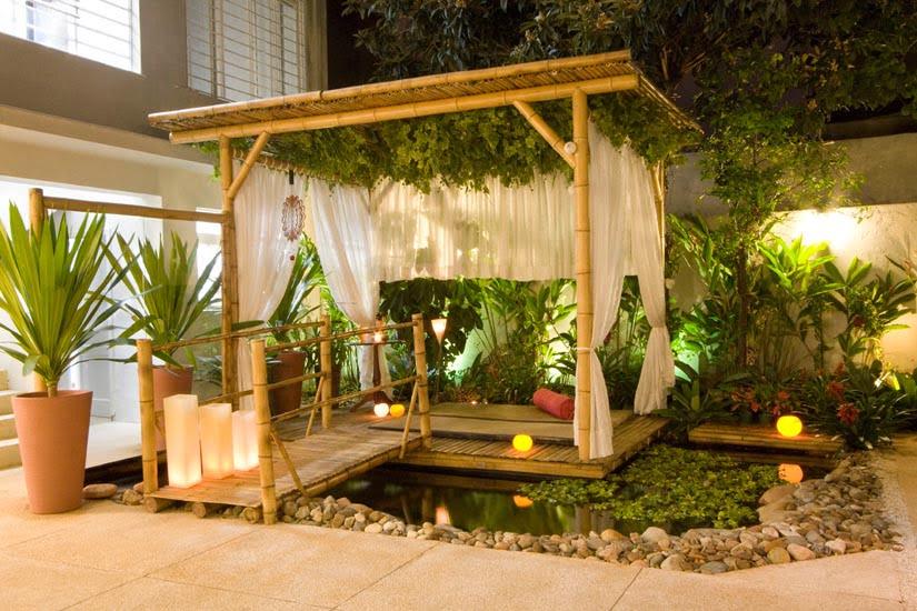 bamboo perogla image with plants decoration