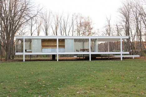 mid century design of Farnsworth House by Mies van der Rohe