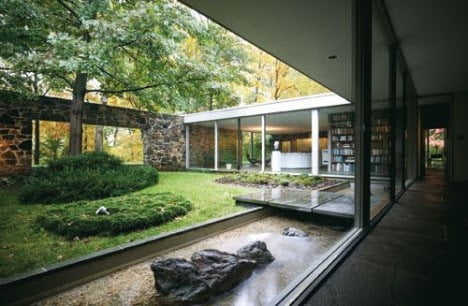 mid century interior of Hooper House II by Marcel Breuer