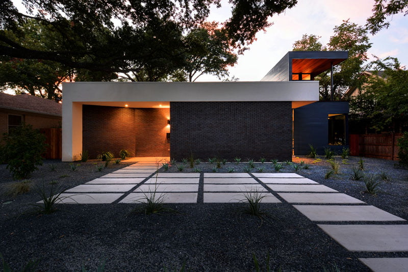 Main entrance of house with steping stone landscap design