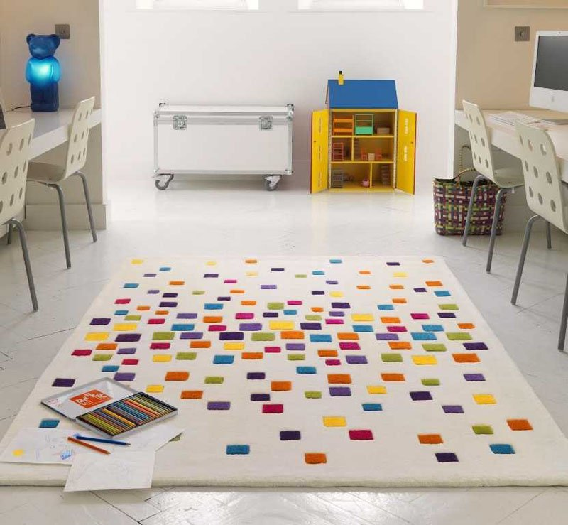Colorful Kids Area Rugs Sprinkled Boxes Kadva