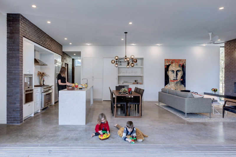 living kitchen space with sliding door full size