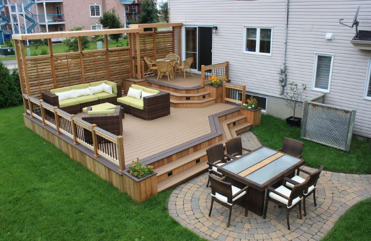 Elevated outdoor wood deck designs for backyard