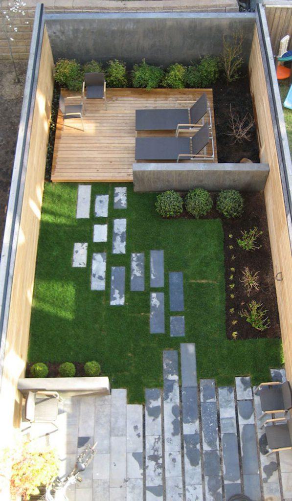 Lounge, grassy area, patio backyard landscaping ideas