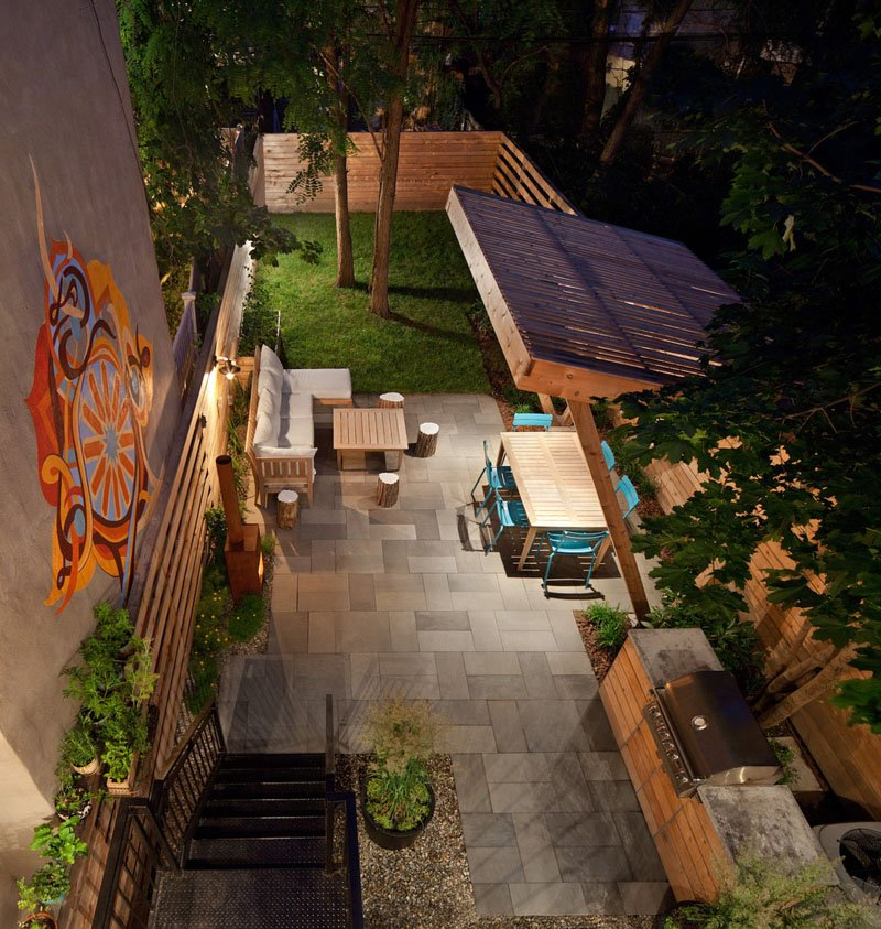 backyard with outdoor kitchen and covered dining area