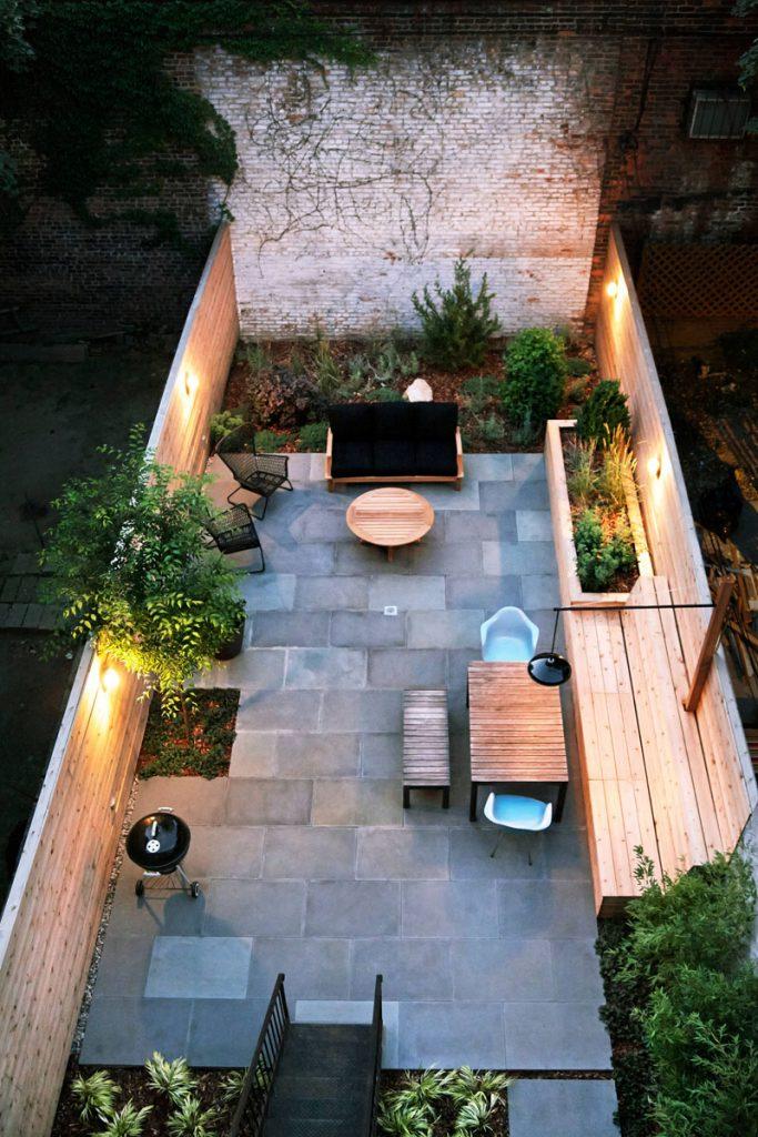 built in lighting design in backyard landscape ideas