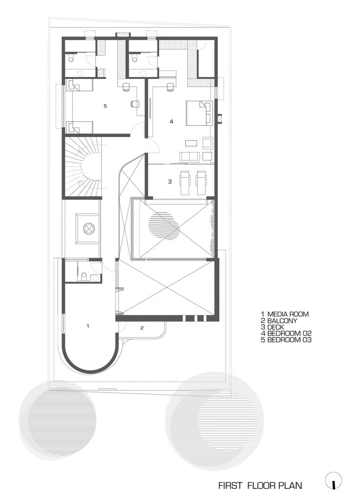 fist floor plan of modern indian house with central courtyard