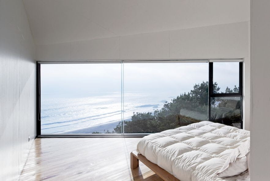 full height glass window of bedroom