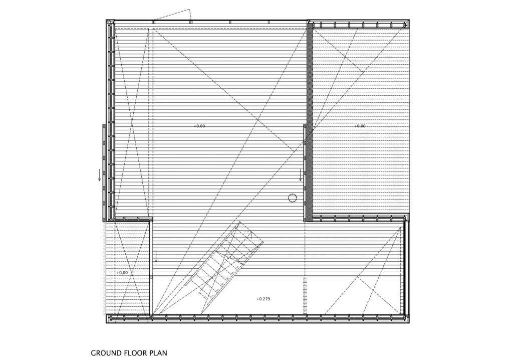 ground floor plan of modern cube house