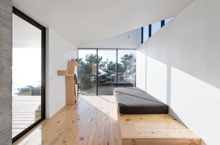 minimalist interior design in modern white cube home
