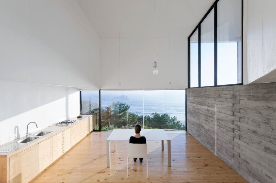 minimul kitchen design with a sea side view