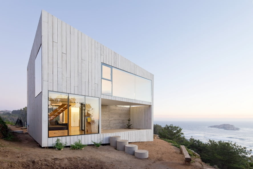 modern elevation of cube house with straight lines and void