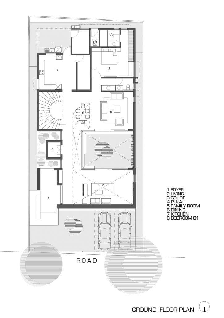 modern house design floor plan at ground lvl of pushpavan
