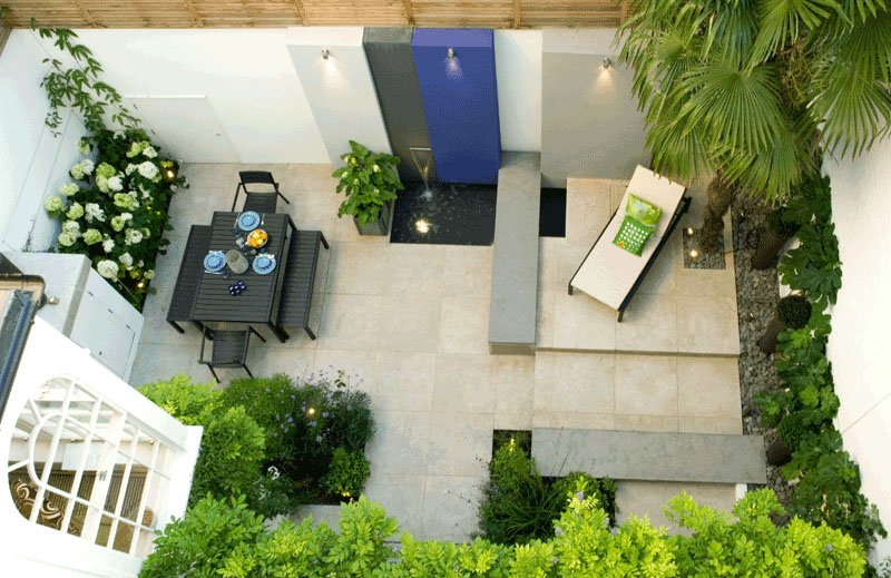 relaxing place with water feature in backyard landscaping design