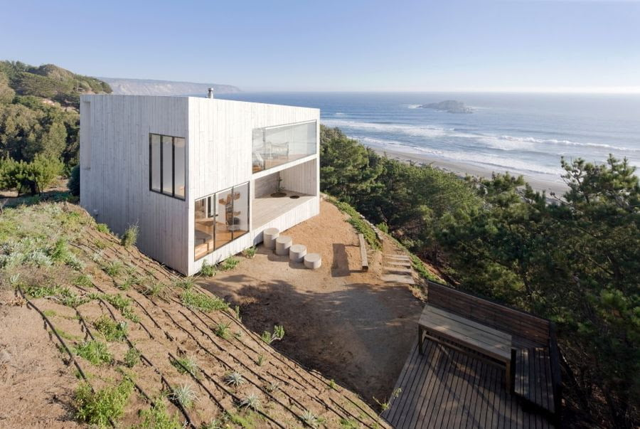 two storied cube shape modern house design