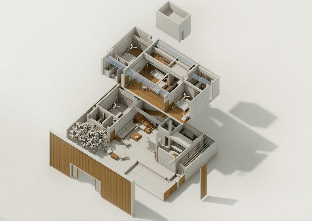 AXONOMETRIC of Badri Residence A Modern Indian House Architecture Paradigm
