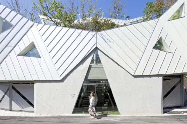 Blooming Origami Geometric shape House Architecture by IROJE KHM