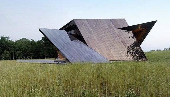 Bronze Cladding in Geometric Shape House by Daniel Libeskind