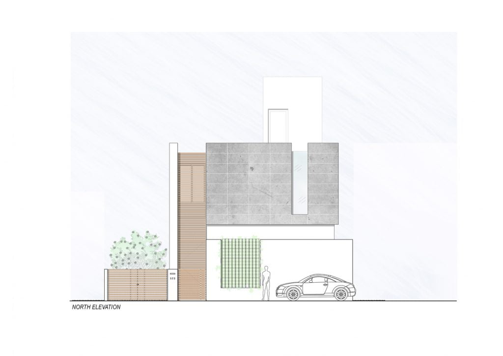 NORTH_ELEVATION of Badri Residence A Modern Indian House Architecture Paradigm