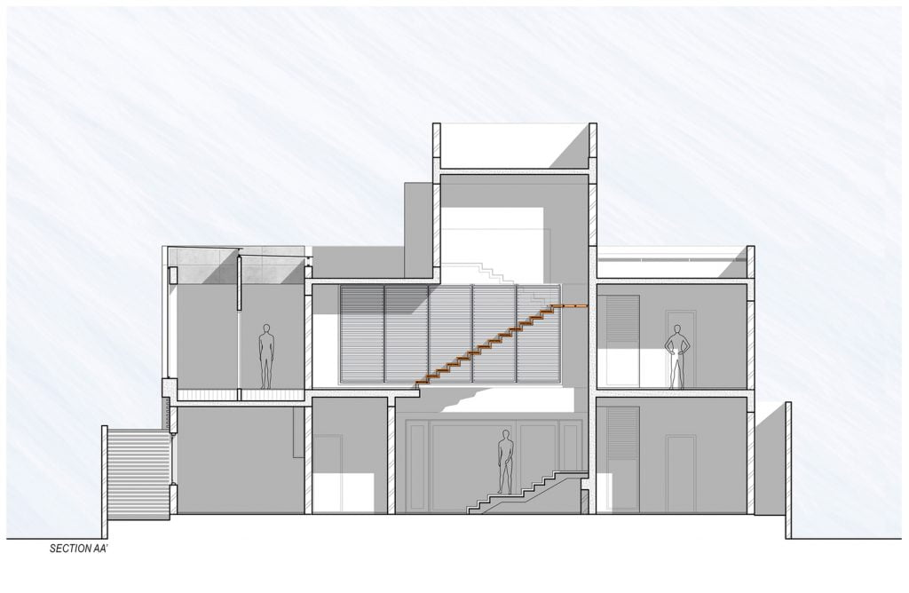 SECTION_AA' of Badri Residence A Modern Indian House Architecture Paradigm