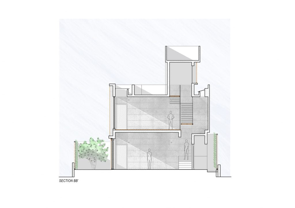 SECTION_BB' of Badri Residence A Modern Indian House Architecture Paradigm