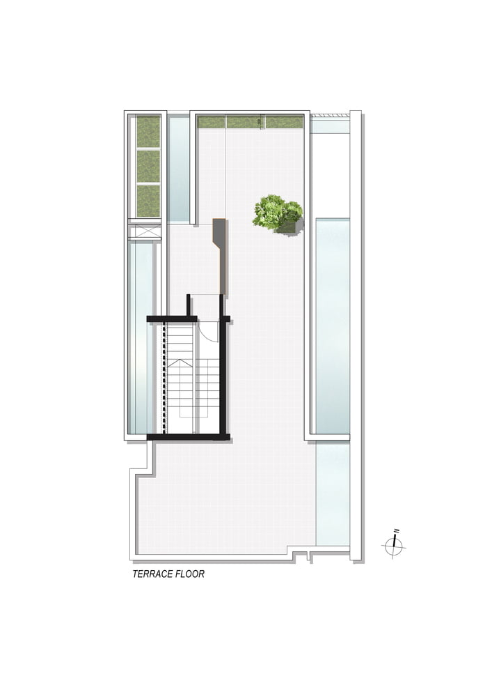 TERRACE_FLOOR_PLAN of Badri Residence A Modern Indian House Architecture Paradigm