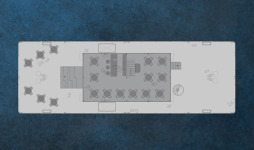 floor plan of floating barge restaurants on the water