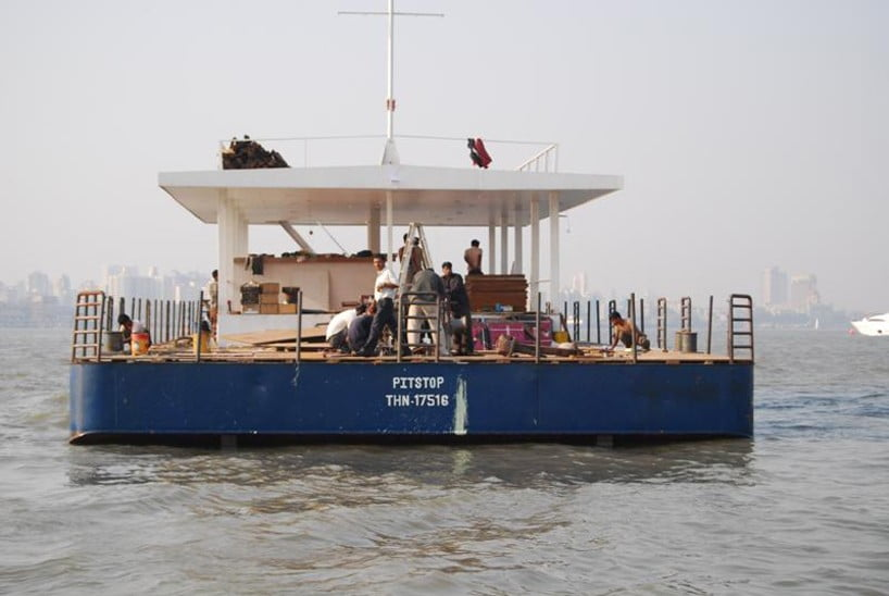 steel barge floating restaurants on the water construction process