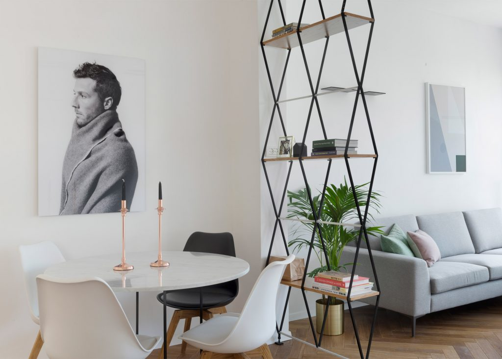 Free standing and wall mounted book shelves ideas in modern apartment.