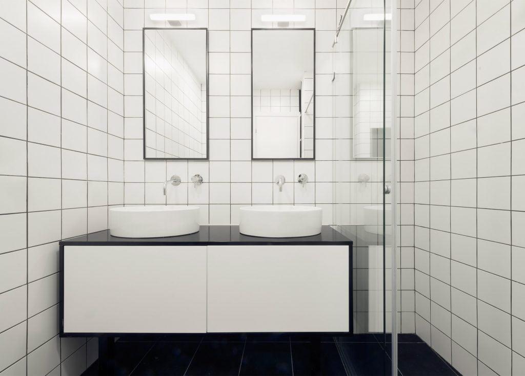 white bathroom concept of apartment decorating theme.