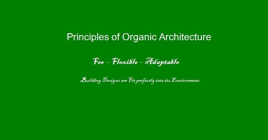Principles Of Organic Architecture