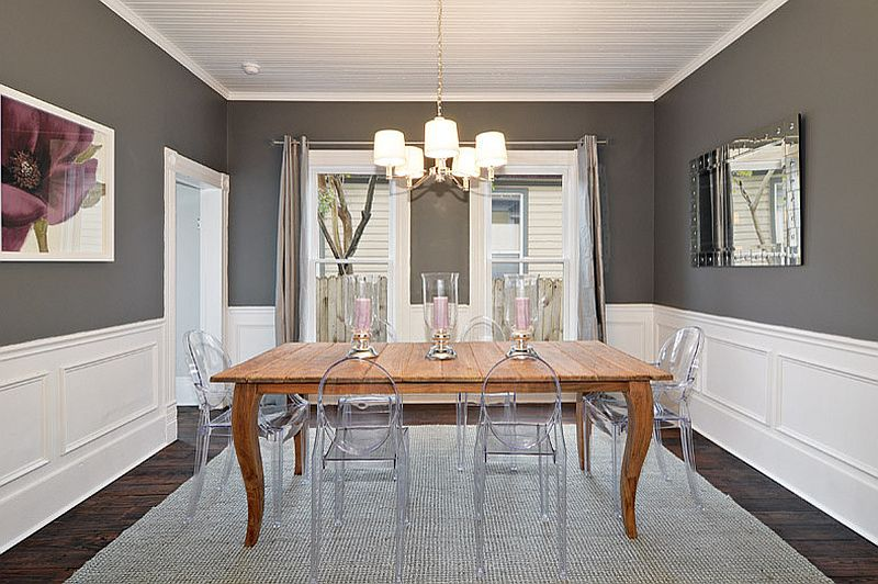 Light Gray Dining Rooms With Wooden Furniture Sets,